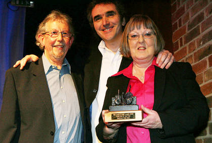 Pam &amp Alan receive the award from Jez Lowe